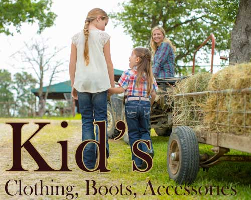 kids and childrens western fashion, boots, and accessories